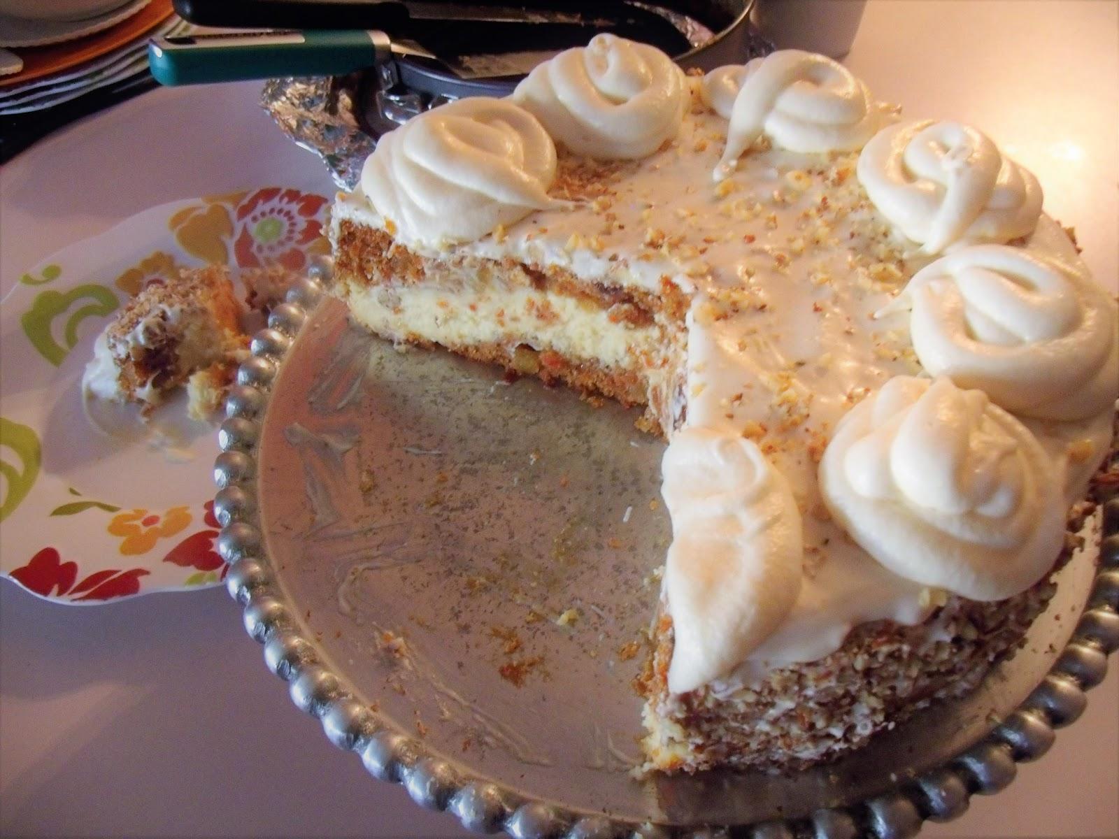 Broiled Hibiscus Carrot Cake Cheesecake Ala The Cheesecake Factory