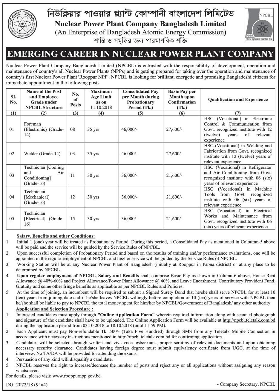 Nuclear Power Plant Company Bangladesh (NPCBL) Job Circular 2018