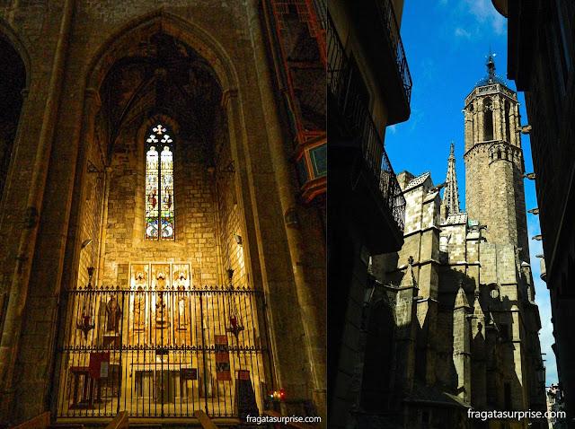 Bairro Gótico: um altar lateral na Igreja de Santa Maria del Pi e a torre da Catedral de Barcelona