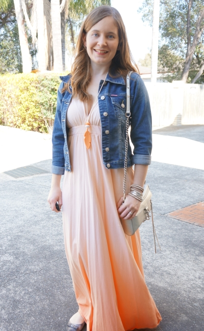 easy spring lunch outfit: ombre Gypsy 05 peach maxi dress denim jacket | Away From Blue