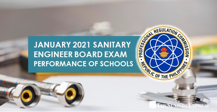 PERFORMANCE OF SCHOOLS: January 2021 Sanitary Engineer board exam results