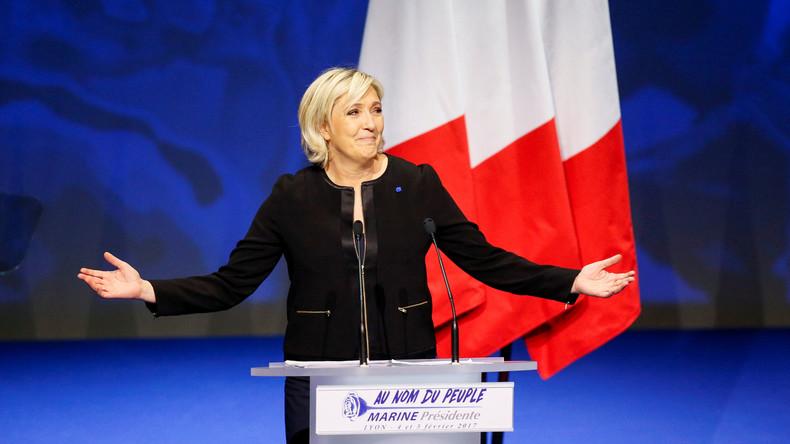 Marine Le Pen prononce son discours de campagne à Lyon, le 5 février