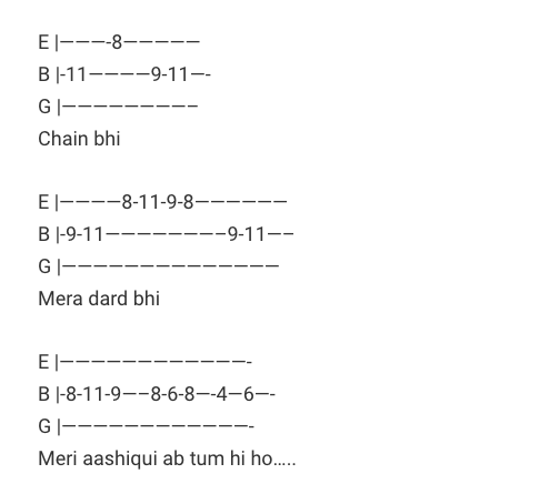 Tum hi ho Tab / Ashiqui 2 / Guitar Tabs / Arijit Singh / Lead Notes /Solo / Tum hi ho Hindi Songs Tabs / Mithoon / Tum hi ho Best of Bollywood / Tum hi ho Love Song Tabs  Hum tere bin ab reh nahi sakte (Tum Hi Ho)