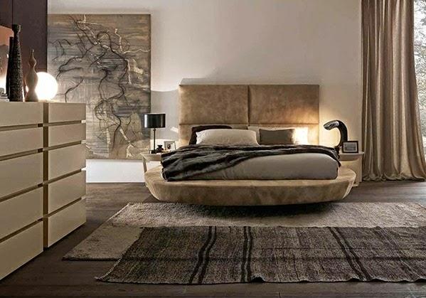 Schlafzimmer Braun Beige Farben Teppich Warm Bett ...