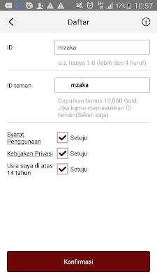 daftar dari Aplikasi Cashpop