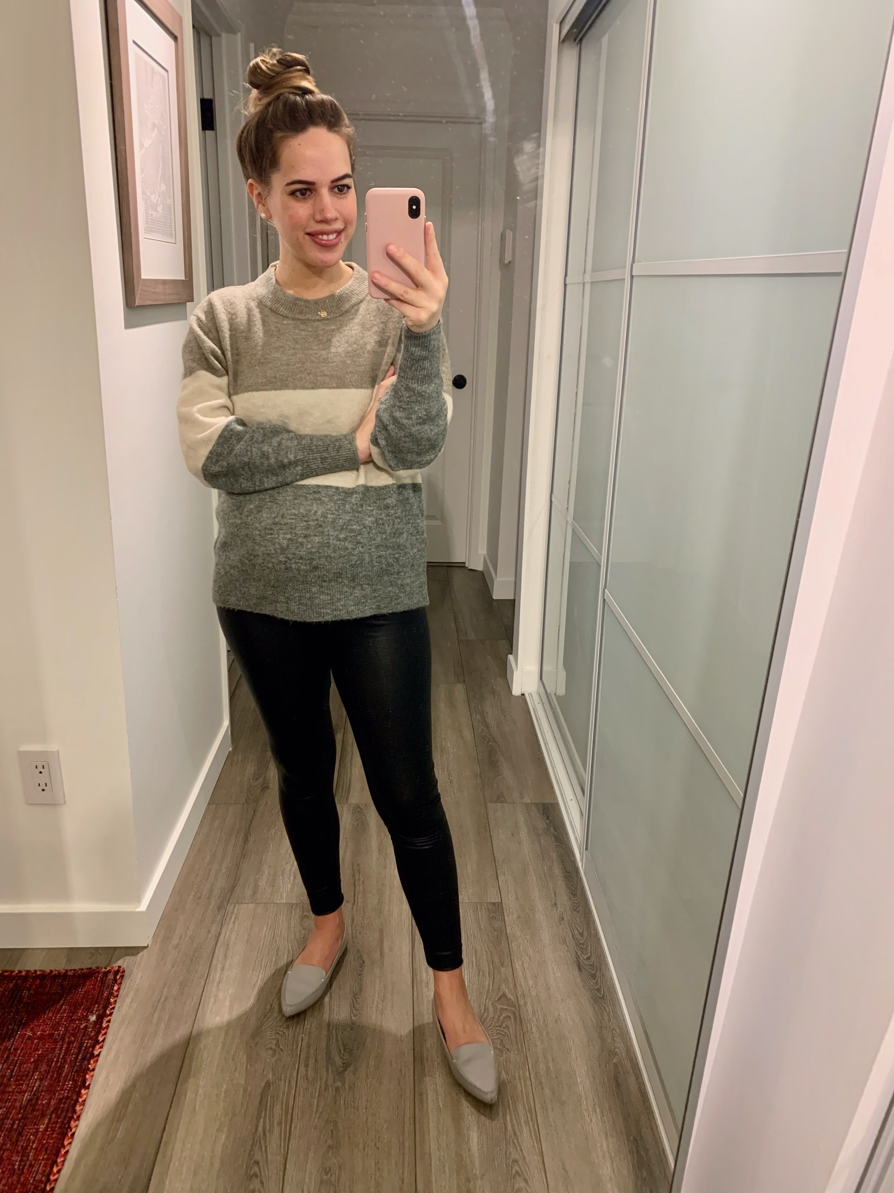 Jules in Flats - Faux Leather Leggings + Colour Block Sweater (Business Casual Workwear on a Budget)
