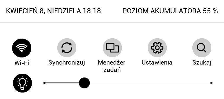 PocketBook Aqua 2 – górne menu z suwakiem regulacji podświetlenia
