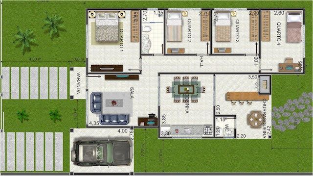 3D house plan with swimming pool