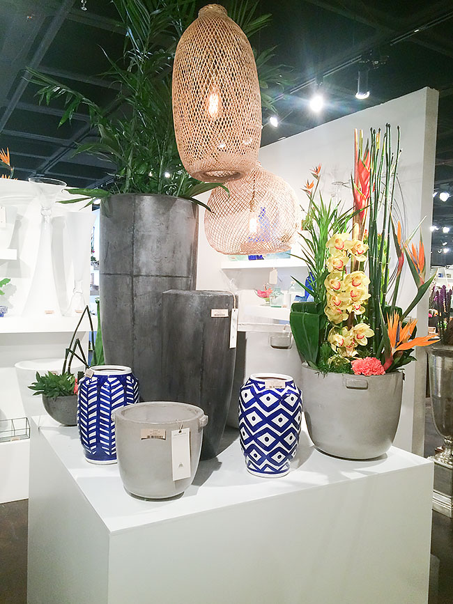 Bamboo Lanterns and Indigo Blue Inca Vases add texture and color to neutral outdoor planters - via Accent Decor