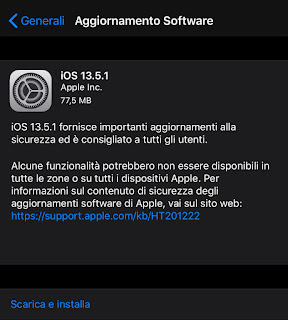 Apple rilascia iOS 13.5.1 e iPadOS 13.5.1