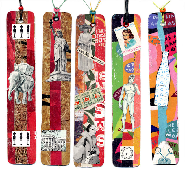 handmade collage bookmarks