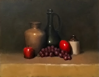 Oil painting of fruit with a vase a bottles.