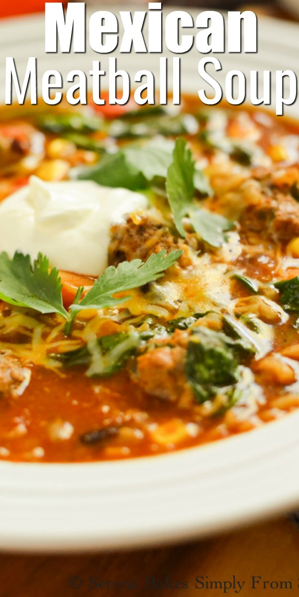 Mexican Meatball Soup recipe in a white soup bowl.