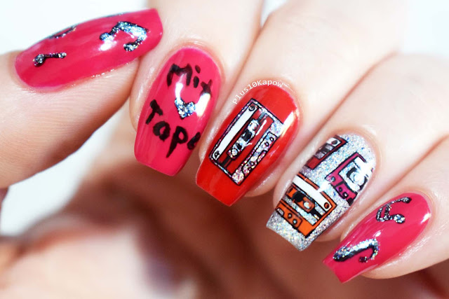 Korres Gel Effect Nail Colour Watermelon and Royal Red Swatches Retro Cassette Mix Tape Nail Art Sparkle PR