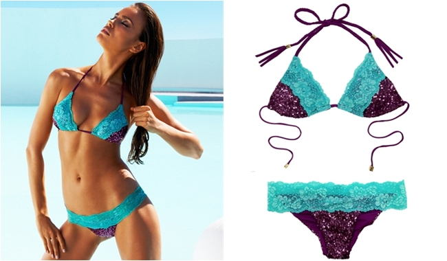 Beach Bunny purple glitter bikini with blue lace