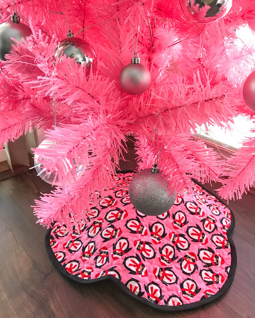 Quilted Pink Penguin - Christmas Tree Skirt