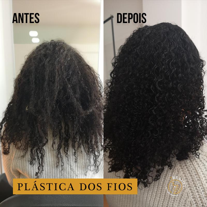 Plástica dos fios cabelo crespo 4A