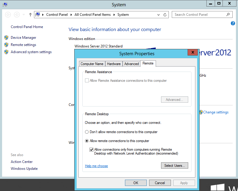 How to change remote desktop settings windows 7