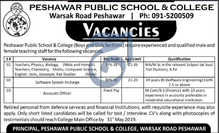 Peshawar Public School & College Jobs 2019