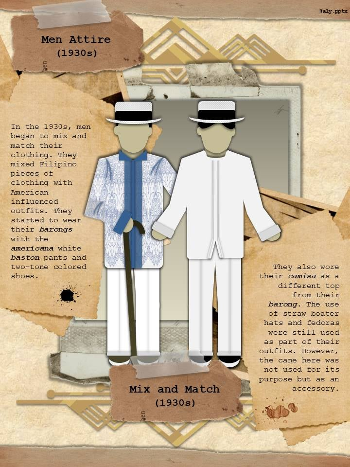 white baston pants, and two-toned shoes. Fedoras an boater hats