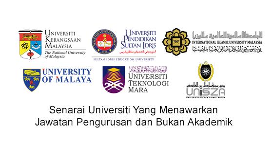 Senarai Universiti Yang Menawarkan Jawatan Pengurusan dan Bukan Akademik
