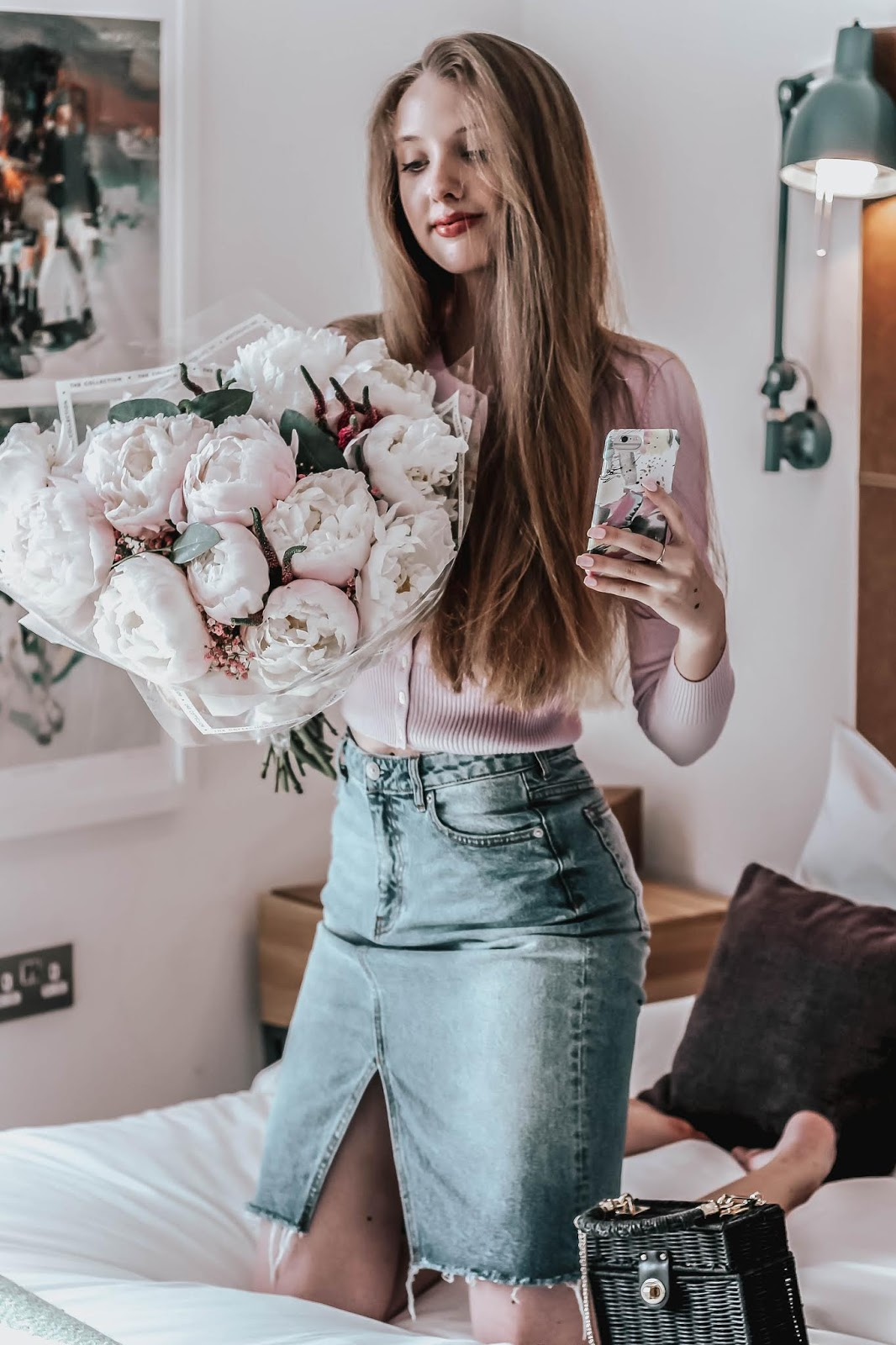 Fashion Blogger Holding Large Peony Bouquet