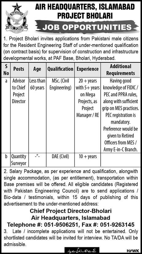 Advertisement for Air Headquarters Islamabad Jobs