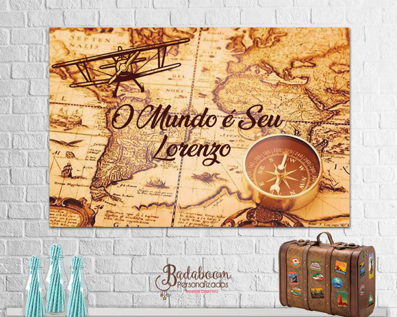 Mapa Mundi, volta ao mundo, vintage, painel, arte digital, festa, poster, arte personalizada