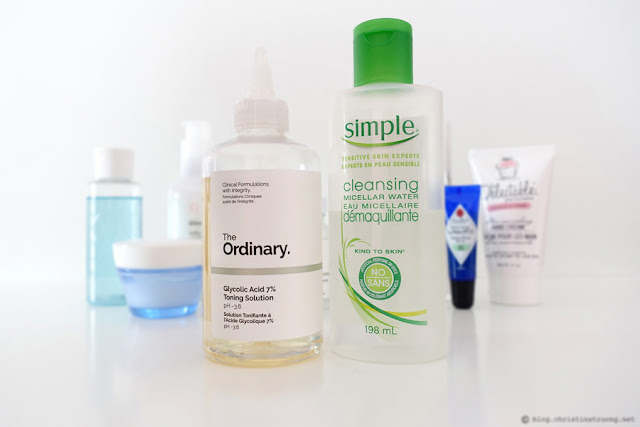 Updated Nightly Skin Care Routine Review featuring Toners The Ordinary Glycolic Acid 7% Toning Solution pH ~3.6 Simple Cleansing Micellar Water Joe Fresh Cotton Pads