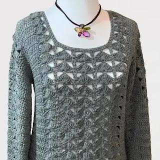Sweater Punto Pavo Real a Crochet