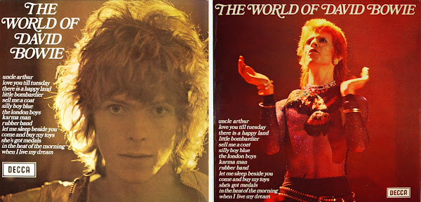 The World of David Bowie - left 1970 edition, right, 1973 edition