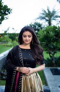 Keerthy Suresh in Black with Cute Smile at the Press Meet of Pandem Kodi 2 2