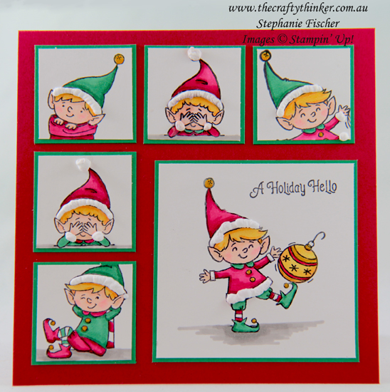 #thecraftythinker #stampinup #cardmaking #christmascard #xmascard #elfie , #Elfie, Christmas Card, Stampin' Up! Demonstrator Stephanie Fischer, Sydney NSW