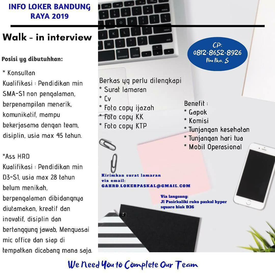 Lowongan Kerja Konsultan & Assisten HRD Bandung Agustus 2019