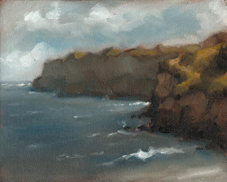 Landscape oil painting of limestone cliffs beside the sea.