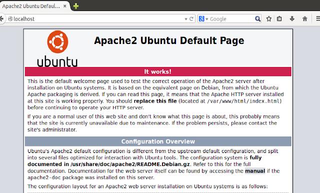 Tampilan jika Apache sudah terinstal dan aktif pada linux ubuntu