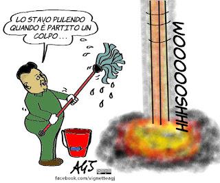 Kim jong un, Corea del Nord, missili balistici, mar del Giappone, vignetta, satira