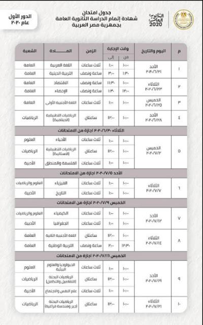 جدول امتحانات الثانوية العامة للعام الدراسي 2020/2019 الموافق عليه من قبل وزارة التربية والتعليم - جدول الفصل الثانوي الثالث 2020