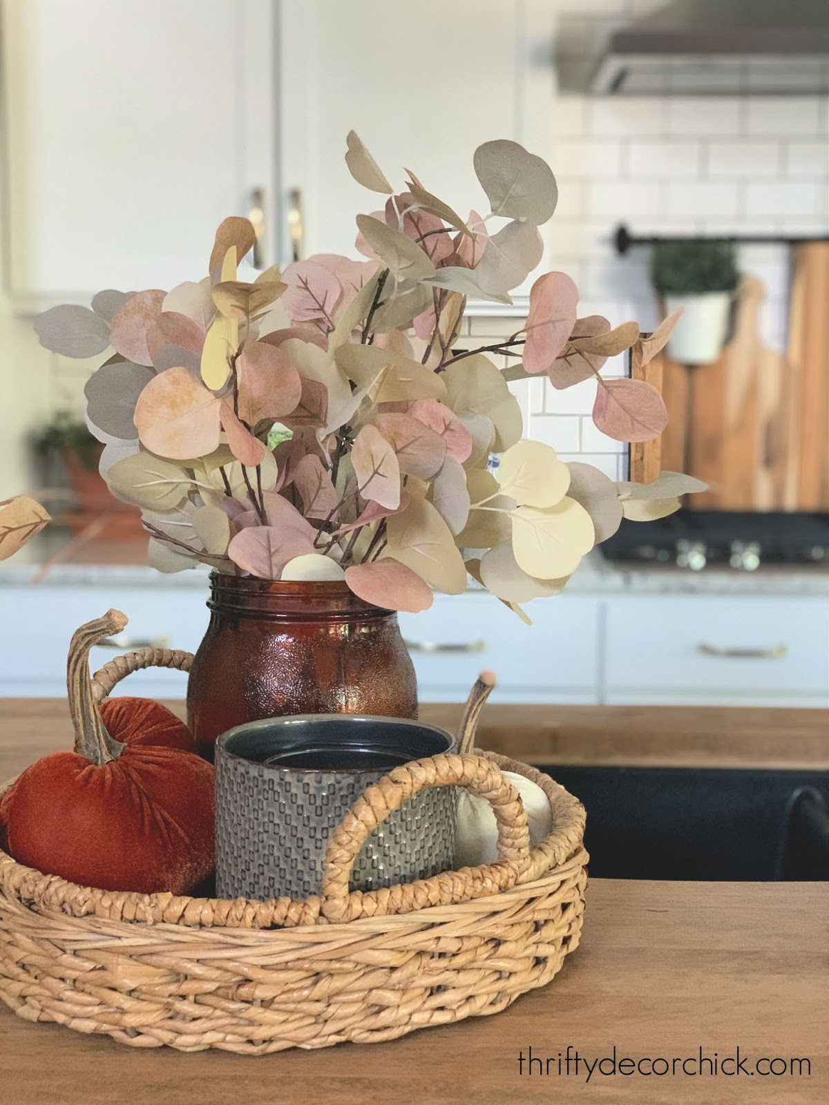 fall decorating vignettes using trays
