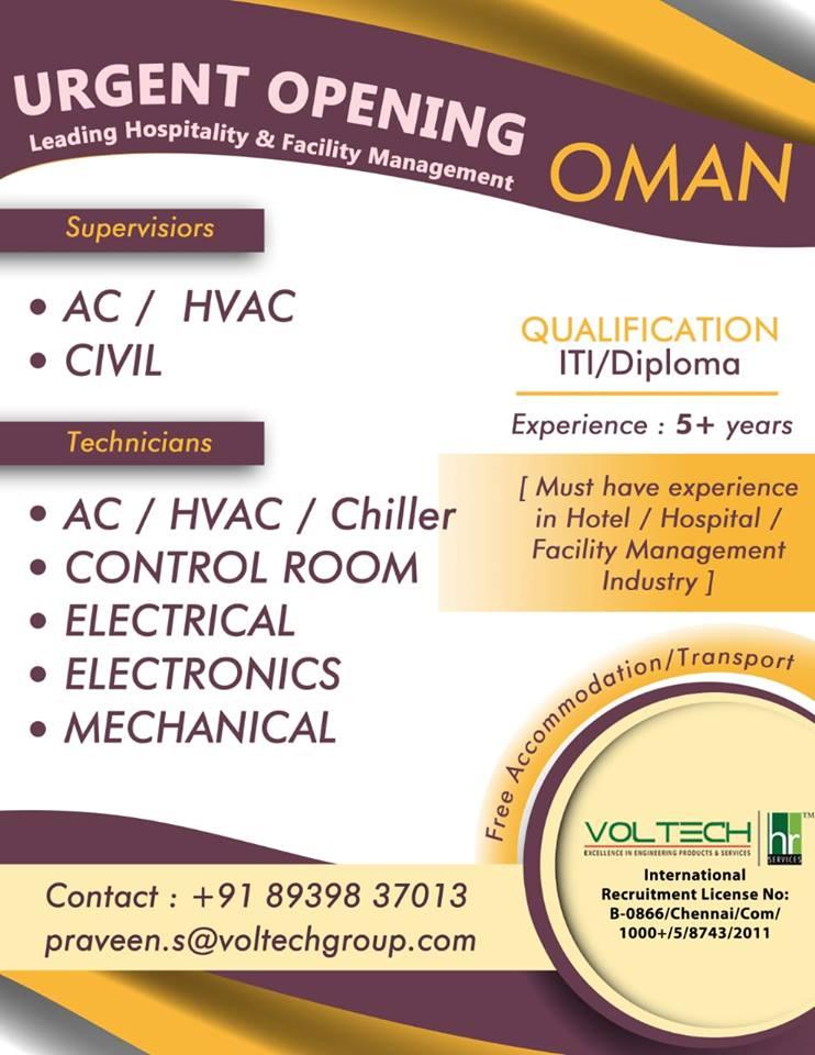 Urgently Opening leading hospitality & facility Management in Oman