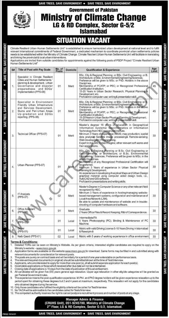 Jobs in Ministry of Climate Change