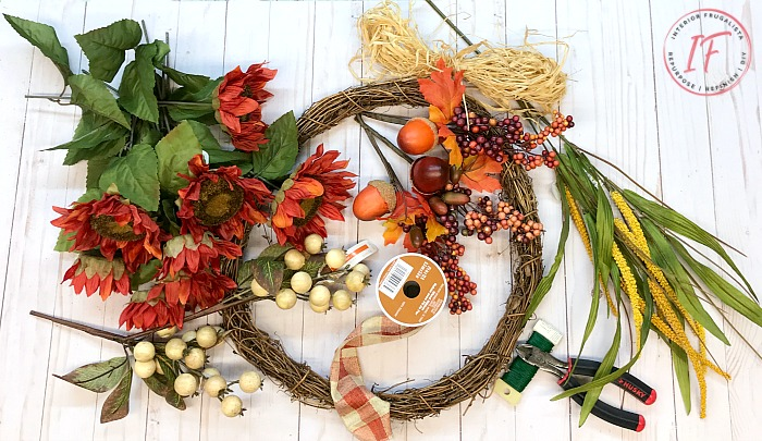 DIY Orange Sunflower Fall Wreath Supplies