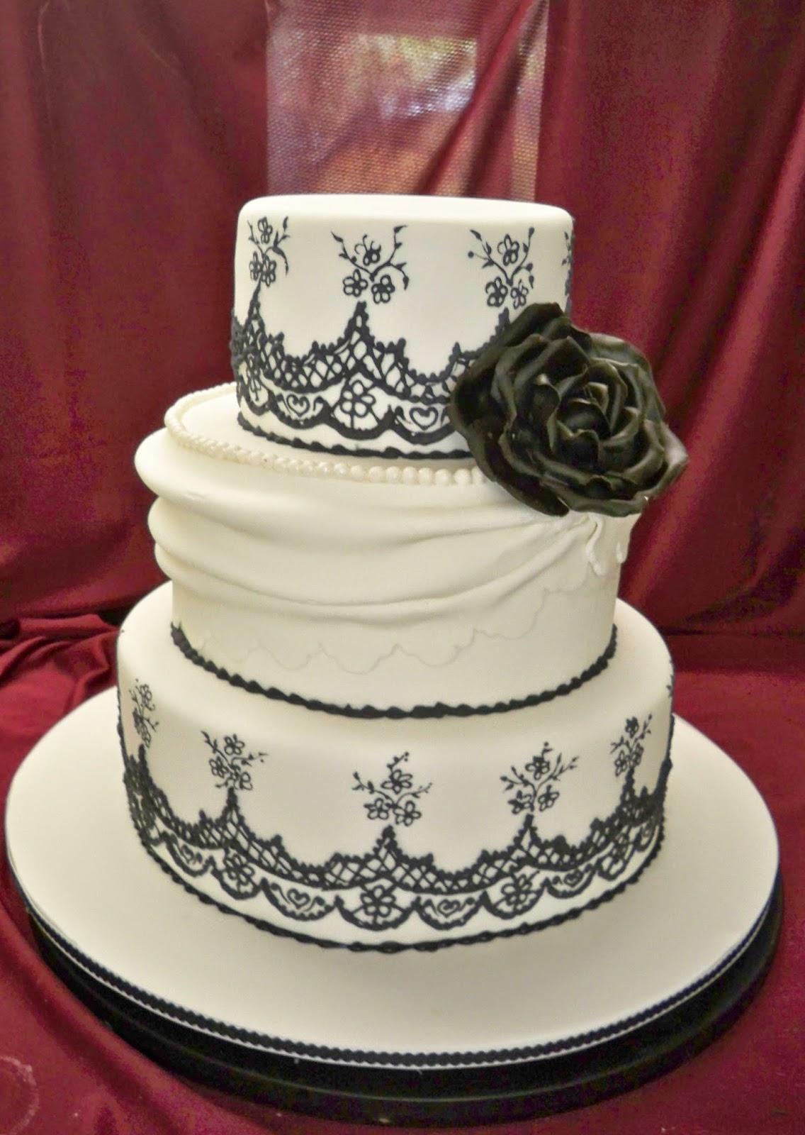 Black And White Lace Wedding Cake Elisabeth S Wedding Cakes