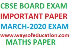 MATHS SAMPLE PAPER FOR CBSE -2020 BOARD EXAM