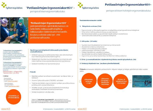'Potilassiirtojen Ergonomiakortti®' -  perioperatiivisen hoitotyön   ergonomiakoulutus