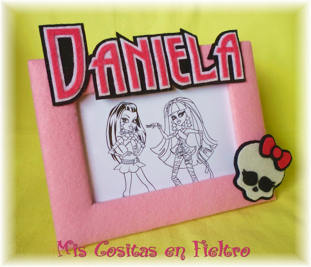 fieltro, marco para fotos, portafotos, fotos, niña, regalo, decoración, Monster High