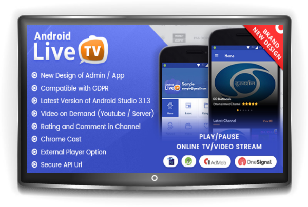 Free Download Android Live TV with Material Design