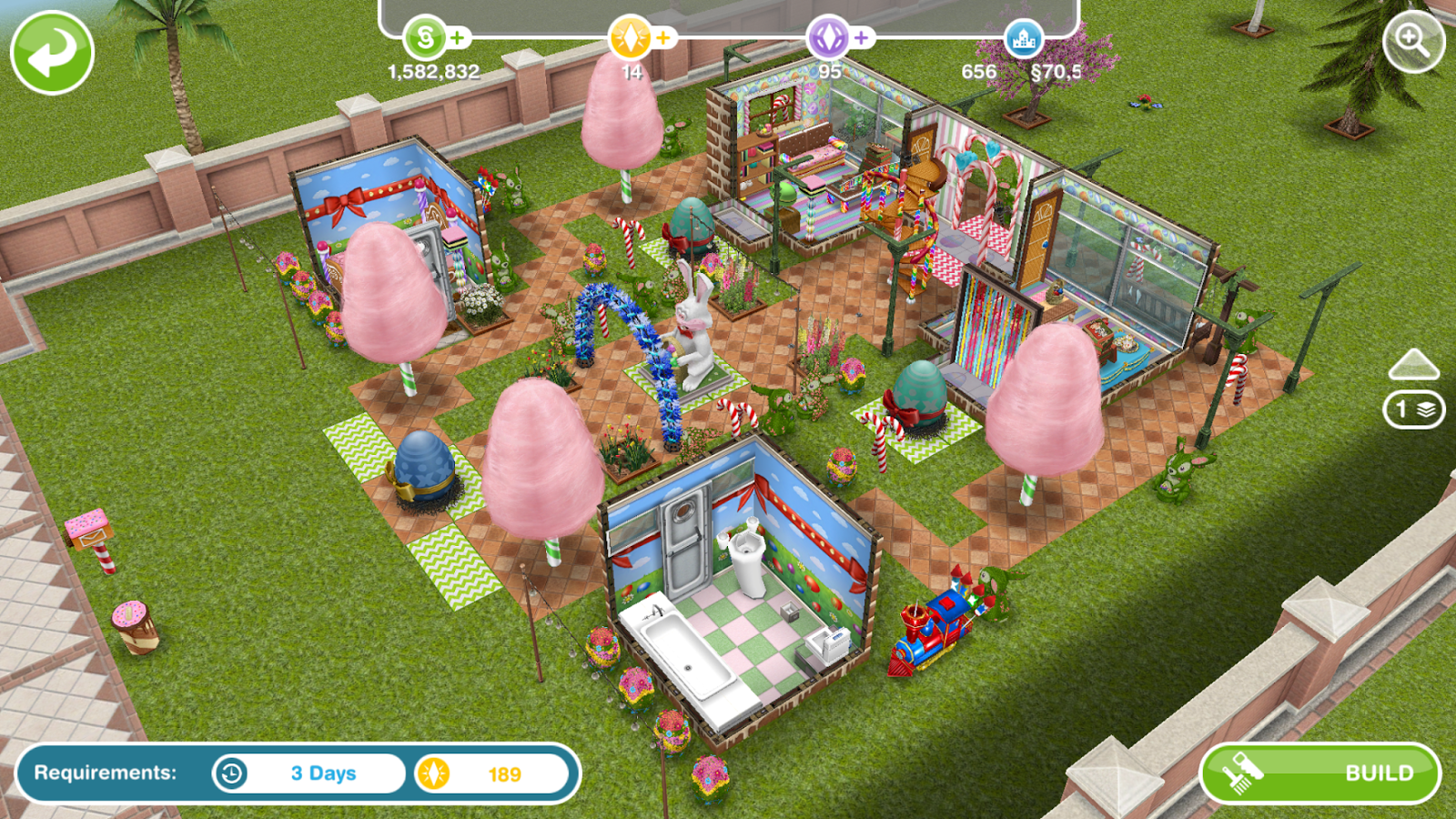 Wonderful image of Sims Freeplay Architect Homes Easter Edition ~ Greenoid Gemzicle with #4B611F color and 1600x900 pixels