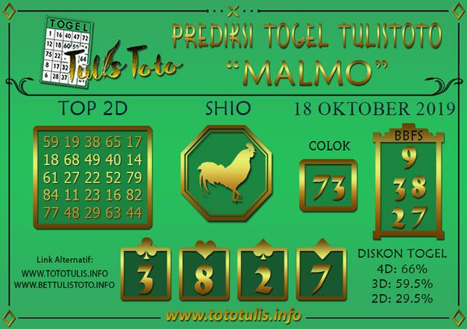 Prediksi Togel MALMO TULISTOTO 18 OKTOBER 2019