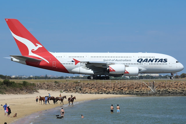 Qantas Airbus A380-800 Coast Taxiing